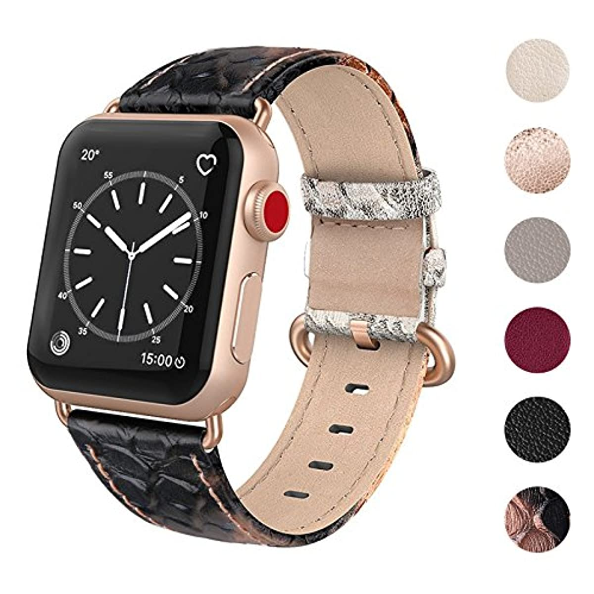 Details about Snake skin Apple Watch Band 38mm 40mm Black Rose old Iwatch  Strap Replacement