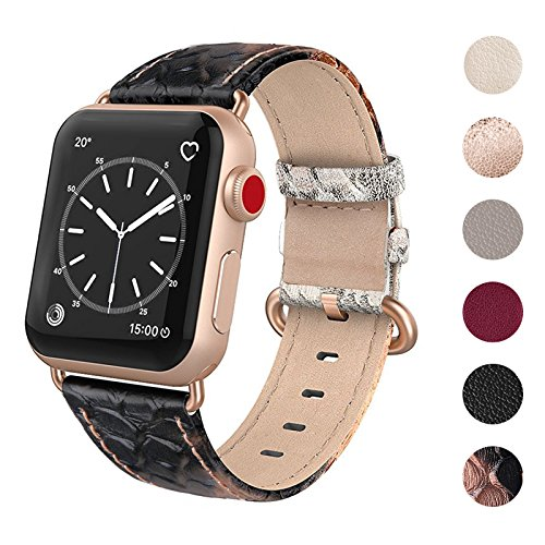 SWEES Leather Band Compatible for Apple Watch 38mm 40mm, Genuine Leather Replacement Strap Compatible iWatch Apple Watch Series 4 Series 3 Series 2 Series 1, Sports & Edition Women, Black/Gold
