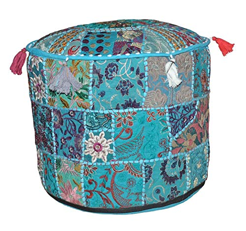 Indian Pouf Footstool Ethnic Embroidered Pouf Cover, Indian Cotton Round Pouffe Ottoman Pouf Cover Pillow Ethnic Decor Art - Cover Only (14x22inch) (Turquoise/Green, 14x22 - Vintage Footstool
