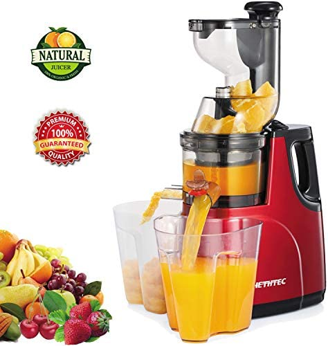 Masticating Juicer Machines, Hethtec Cold Press Juice Extractor with Large Dual-Chute and Clean Brush for Fruits and Vegetables, High Yield, BPA-Free, 60R M, 150W