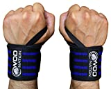 WOD Nation Wrist Wraps by Wrist Support Straps (12'', 18'' or 24'') - Fits Both Men & Women - Strength Training, Weightlifting, Powerlifting - Lift Heavier Weight (18 Inch - Black/Dk Blue)