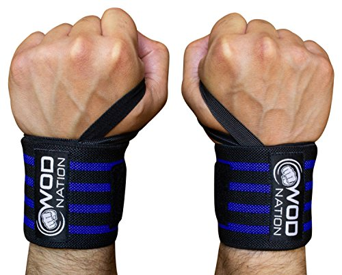 WOD Nation Wrist Wraps by Wrist Support Straps (12'', 18'' or 24'') - Fits Both Men & Women - Strength Training, Weightlifting, Powerlifting - Lift Heavier Weight (18 Inch - Black/Dk Blue) by WOD Nation (Image #9)