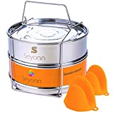 Seyonn Stackable Steamer Insert Pans and Lid for Instant Pot 5,6,8 qt Pressure Cooker, Crock Pot Accessories - 2 Stainless Steel Inserts Pan with Handle for Steaming, Baking - Premium, Food Grade