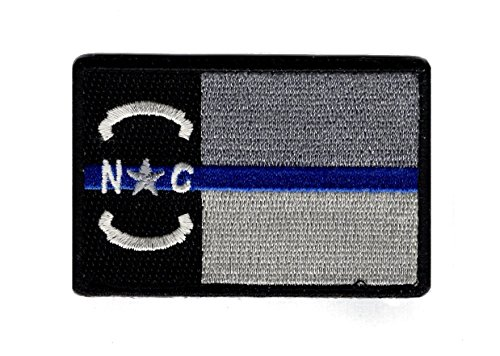North Carolina State Flag Thin Blue Line NC Hook Patch (NCP2) ()