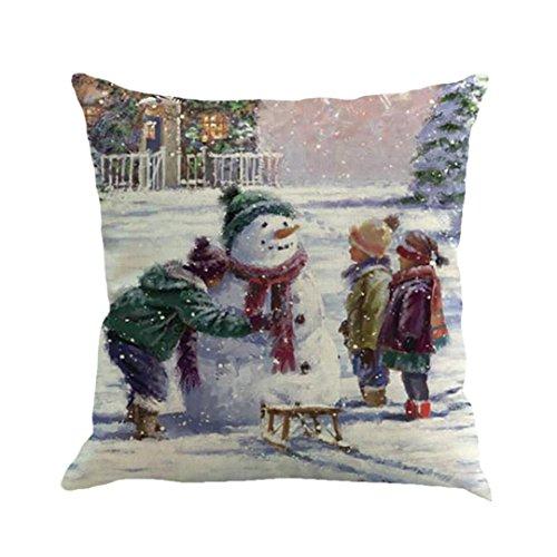 GBSELL Pillow Cover Christmas Snowmen Pillow Case Sofa Throw Cushion Cover Home Fall Decor,45cm45cm (B)