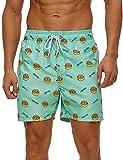 SILKWORLD Men's Board Shorts Swim Trunks Quick Dry Athletic Swimwear with Pockets,Green Dumplings,Large