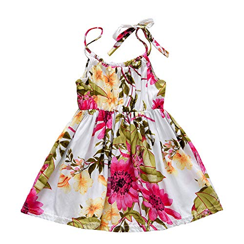 Toddler Baby Girls Summer Floral Dress Sleeveless Princess Party Casual Holiday Dress Beach Sundress (Red, 12-18 Months) -
