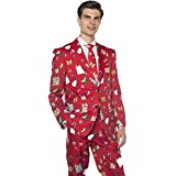 Men's Christmas Suit with Santa, Presents & Snowmen | Funny Holiday Costume in Red (M/L - 42)