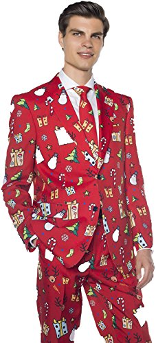 Men's Christmas Suit with Santa, Presents & Snowmen | Funny Holiday Costume in Red (L - 44 (Real Santa Suit)