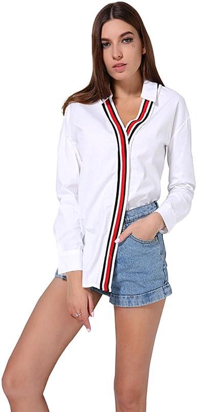 Amazon Com Camisa De Popelina Con Cuello En V Para Mujer Diseno De Retazos A Rayas Talla Grande Blusa Asimetrica Elegante Color Blanco Clothing