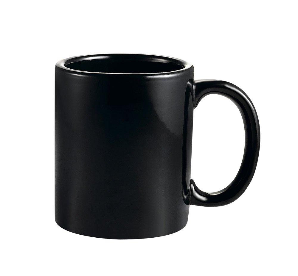 CAC China MUG-10B 10-Ounce Stoneware Round Mug, 3-1/2-Inch, Black, Box of 36