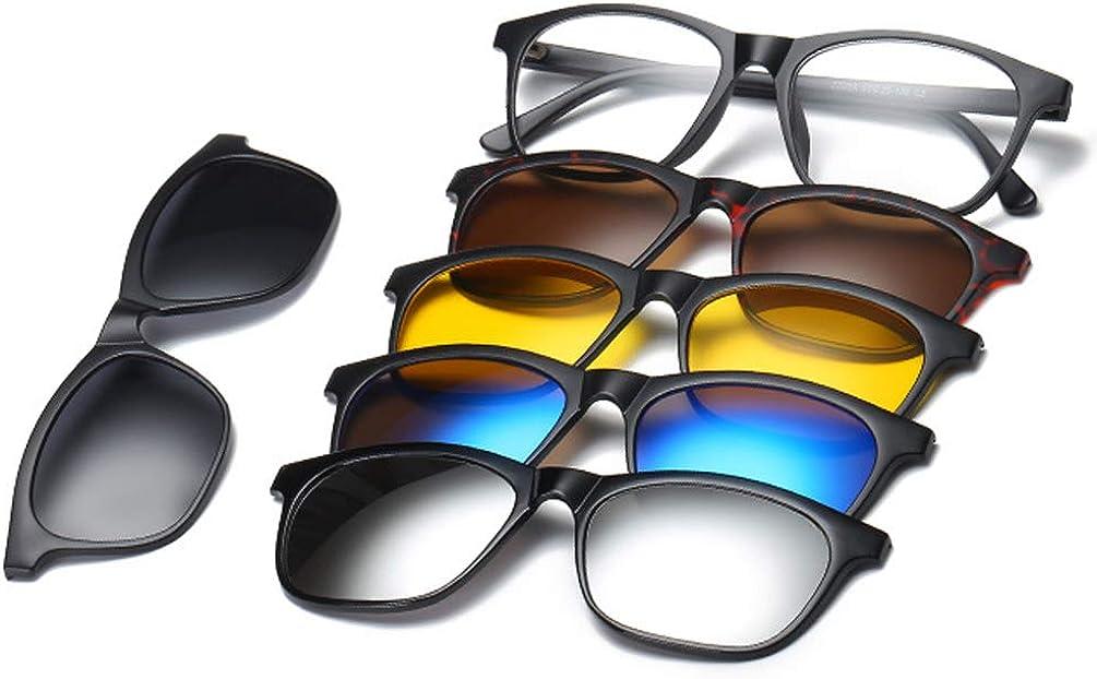 Embryform 5 Pack Occhiali da Sole Polarizzati Clip on+1 Frame, MagClip Montatura Occhiali da Vista con Clip da Sole Magnetiche Lenti Polarizzati