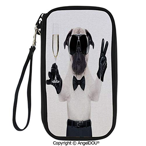 (PUTIEN New Fashion Card Holder Wallets Pug with Champagne Glass and Peace Sign Cool Looking Dog Celebration Animal Decorative for Men Women Travel Business.)