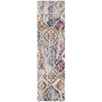 Safavieh Bristol Collection BTL351D Blue and Light Grey Vintage Distressed Bohemian Runner (23 x 8)