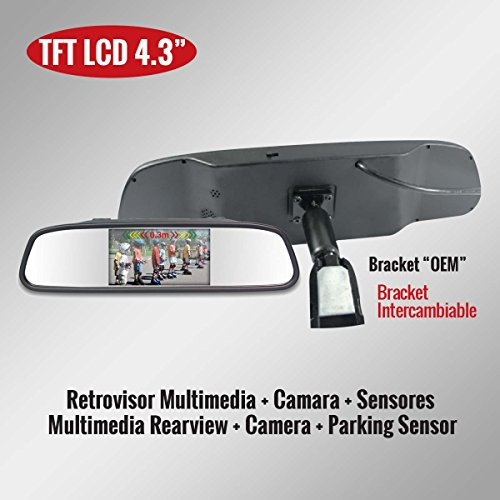 """Genius G-VPS01-RB43 TFT LCD Car Rearview Mirror Monitor 4.3″ Kit with Camera and 4 Parking Sensors""""Bracket Style"""""""