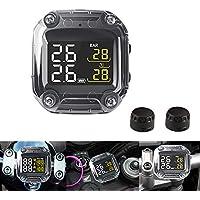 TOOGOO M3 Waterproof Motorcycle Real Time Tire Pressure Monitoring TPMS LCD Display External Sensor - Black