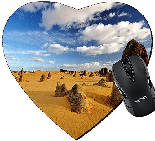 MSD Mousepad Heart Shaped Mouse Pads/Mat design 20342243 Pinnacles desert on a sunny day Western - Australia Sunnies Cheap