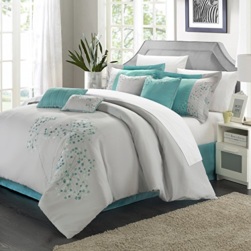 Chic Home 12 Piece Pink Floral Floral Embroidered Design King Comforter Set Grey/Turquoise