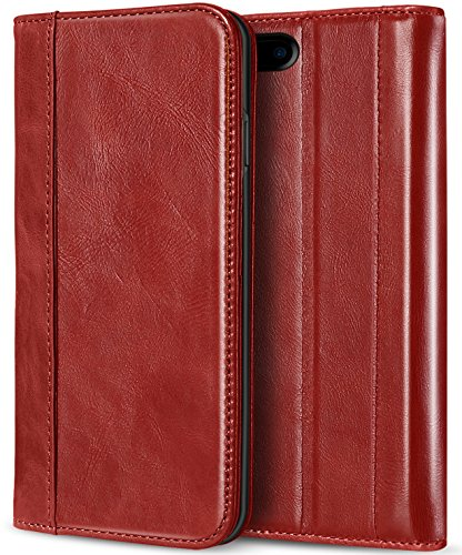 iPhone 8 Plus / 7 Plus Genuine Leather Case, ProCase Wallet Folding Flip Case with Kickstand Card Slots Magnetic Closure Protective Cover for Apple iPhone 8 Plus / iPhone 7 Plus (Apple Iphone Genuine Leather)