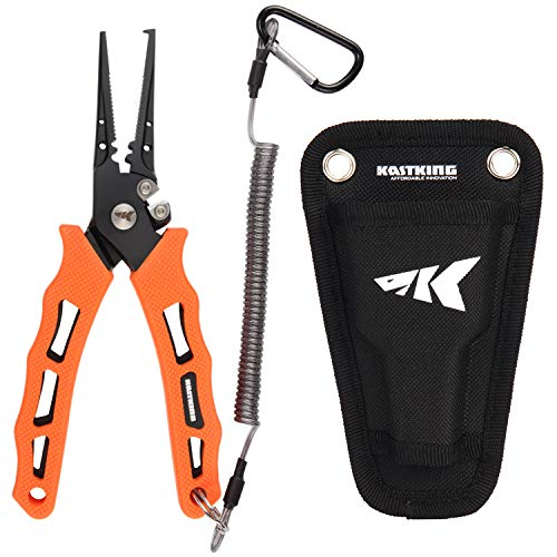 """(KastKing Cutthroat 7"""" Fishing Pliers, 420 Stainless Steel Fishing Tools, Saltwater Resistant Fishing Gear, Tungsten Carbide Cutters, Corrosion Resistant Teflon Coating, Rubber Handle)"""