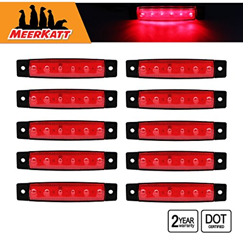 Cap Amber Light Tail (Meerkatt (Pack of 10) 3.8 Inch Red 6 LED Side Marker Light Indicators Lamp Turn Signal Tail Brake Stop Parking Trailer Truck Cap Camper Buses Pickup Vans ATV Lorries Ambulance Jeeps 12v DC Model TK12)