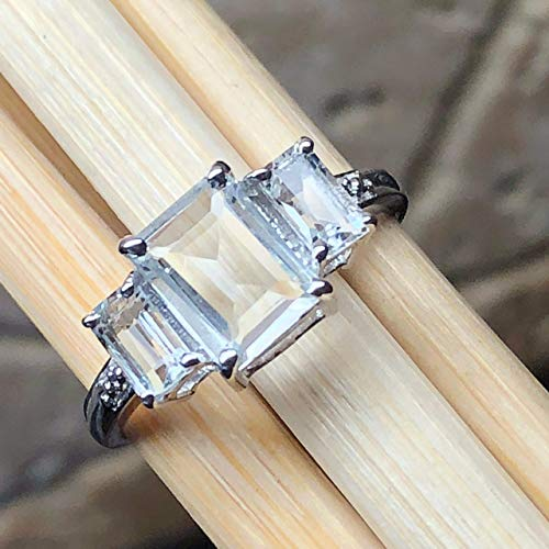 - Natural 2ct Aquamarine 925 Solid Sterling Silver Emerald Cut 3-Stone Ring sz 5.75, 6, 8, 8.75, 9