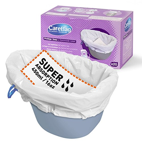 The Original Carebag Commode Liner with Super Absorbent Pad, 20 Liners - Fits Any Standard Bedside Commode Bucket or Commode Pail - Disposable Commode Liners for an Adult Commode Chair
