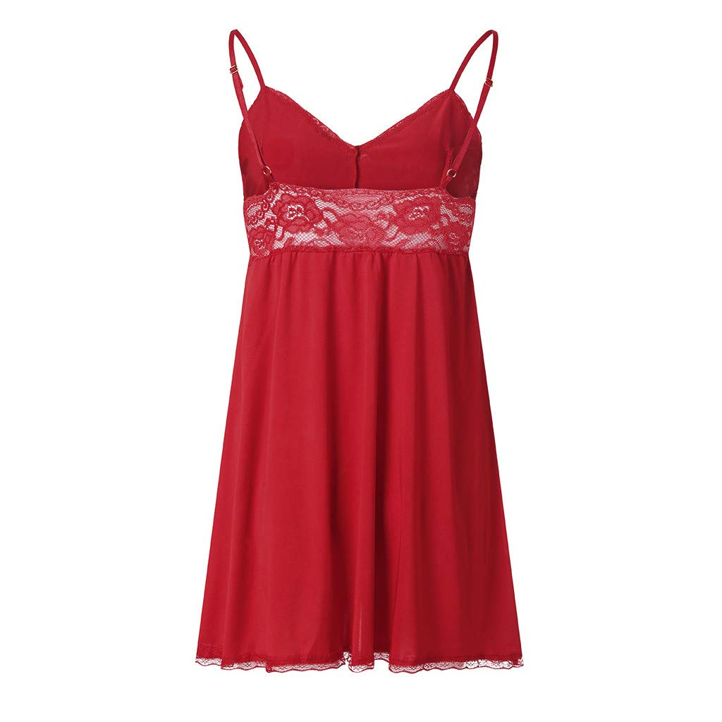 Women V Neck Lace Lingerie Set Open Front Sexy Sheer Halter Babydoll Mesh Chemise (XL, Red)