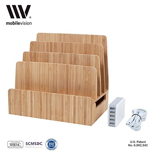 MobileVision Bamboo Charging Station & Multi Device Organizer Slim Version w/ USB Charging Strip INCLUDED for Smartphones, Tablets, and Laptops by MobileVision