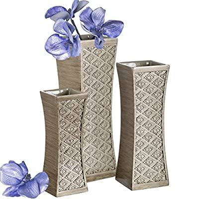 Dublin Flower Vase Set of 3 - Centerpieces for Dining Room Table, Decorative Vases Home Decor Accents for Living Room, Bedroom, Kitchen & More Packaged in Gift Box (Brushed Silver) - DESIGNED TO IMPRESS: Rich Silver hue & textured patterns create a standout decorative vase set. PREMIUM FEEL: Made using quality resin, the home decor vases are impressively heavy & never rust. THOUGHTFUL DESIGN: We've fitted the elegant vase set with bottom protectors to prevent scratches. - vases, kitchen-dining-room-decor, kitchen-dining-room - 51CqSPKXcCL. SS400  -