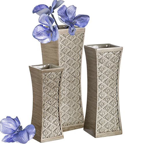 - Dublin Flower Vase Set of 3 - Centerpieces for Dining Room Table, Decorative Vases Home Decor Accents for Living Room, Bedroom, Kitchen & More Packaged in Gift Box (Brushed Silver)