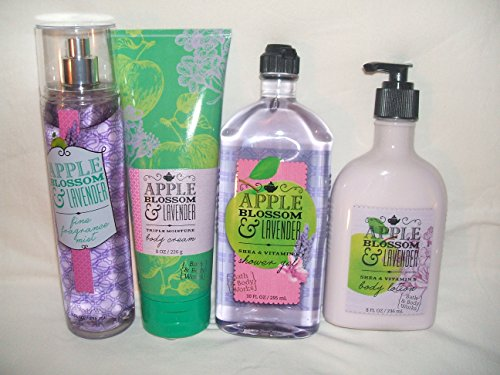 Bath & Body Works APPLE BLOSSOM & LAVENDER LG SET mist 8 oz, body cream 8 oz, shower gel 10 fl oz, body lotion 8 fl oz. - Body Fantasies Freesia