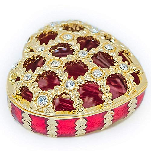 Keren Kopal Miniature Red and Gold Heart-Shaped Trinket Box with Carved Top and Clear Swarovski Crystals for Collectors, Decorators, or Enthusiasts