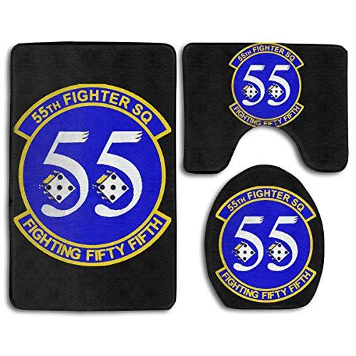 55th Fighter - Customized Bathroom Rug Mats Set 3 Piece - Bathroom Carpet Pedestal Lid Mat Toilet Cover Set for Home Kichen Bathroom Decor (55th Fighter Squadron)