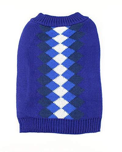 Midlee Argyle Dog Sweater (Large, Blue)