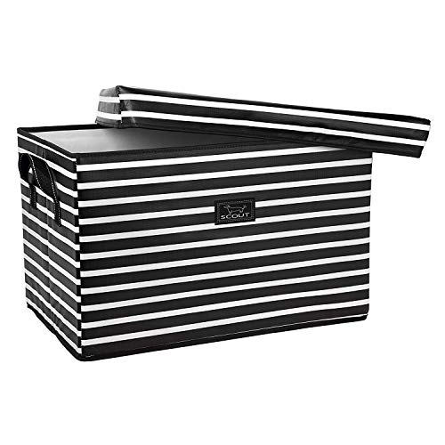 SCOUT Rump Roost Large Lidded Storage Bin, Collapsible and Stackable, Reinforced Side Handles and Bottom, Water Resistant (Fleetwood Black)]()