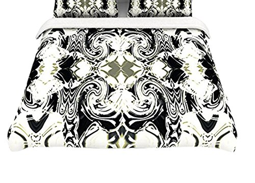 Kess InHouse Dawid Roc ''The Palace Walls III'' White Abstract Cotton King Duvet Cover, 104 x 88''