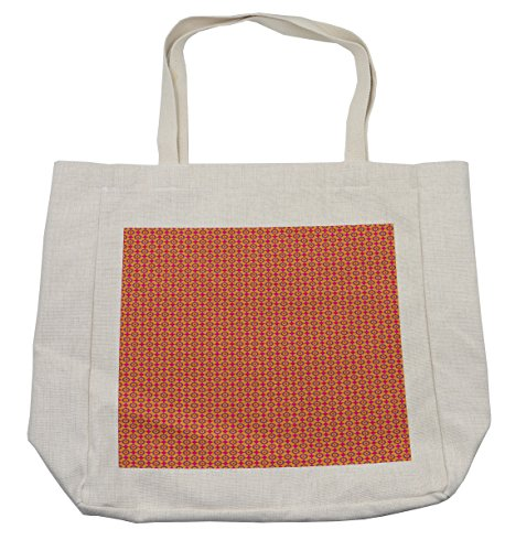 Lunarable Retro Shopping Bag, Groovy Sixties Seventies Era Hippie Print Funky Graphic Connecting Circles Design, Eco-Friendly Reusable Bag for Groceries Beach Travel School & More, (70's Era Costume Ideas)