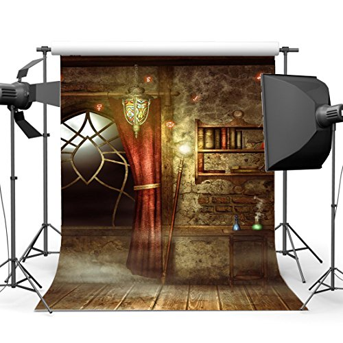 Gladbuy 5X7FT Vinyl Photography Backdrop Halloween Horror Moon Night Witch Room Bookcase Arch Window Wood Floor Interior Backdrops for Children Adults Masquerade Background Photo Studio Props (Masquerade Ball Backdrops)
