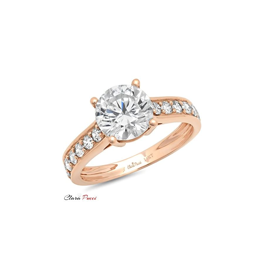 Clara Pucci 2.45 Ct Brilliant Round Cut Solitaire Accent Engagement Wedding Bridal Anniversary Ring 14K Rose Gold