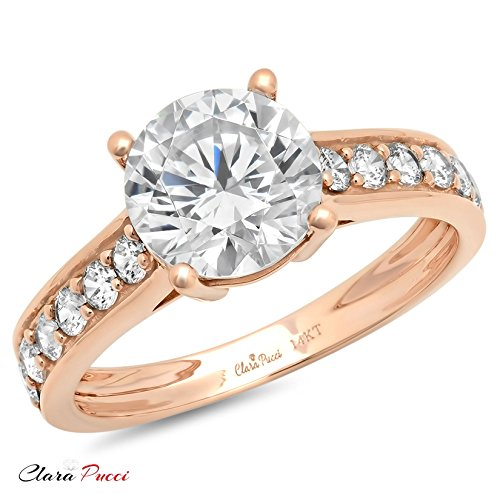 2.45 Ct Brilliant Round Cut Solitaire Accent Engagement Wedding Bridal Anniversary Ring 14K Rose Gold, Clara Pucci