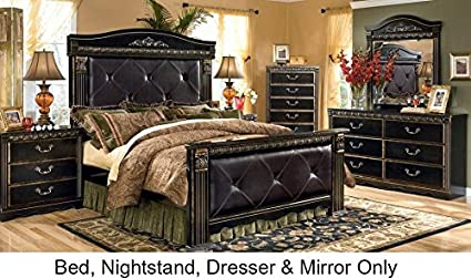 Coal Creek Queen Bedroom Set With Upholstered Mansion Bed Dresser Mirror  And Nightstand In Dark Brown