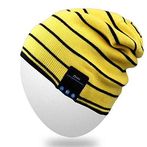 Rotibox Washable Slouchy Bluetooth Beanie Hat Cap w/Wireless Bluetooth Headphone Headset Earphone Speakers Mic for Exercise Lifestyle Sports [Running Skiing Skating Hiking], Yellow