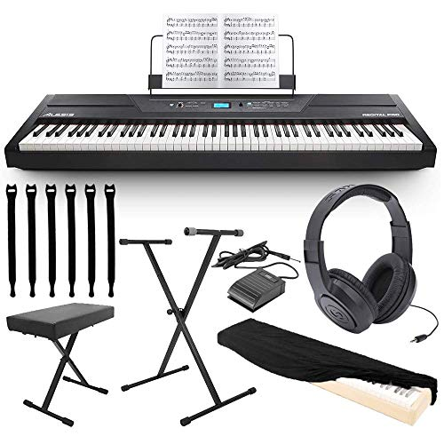 Alesis Recital Pro 88-Key Digital Piano with Hammer-Action Keys + On Stage Keyboard Dust Cover + Keyboard Stand/bench and Pedal + Strapeez + Stereo Headphones TOP VALUE ALESIS BUNDLE! from Alesis