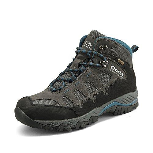 Clorts Men's Mid Hiking Boot Hiker Leather Waterproof Lightweight Outdoor Backpacking Trekking Shoe