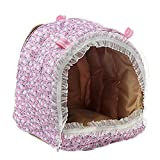 Zeroyoyo Pet Small Animals Floral Print Hammock Rat Parrot Rabbit Guinea Pig Ferret Hanging Bed Toy House Cage Size M L, Random Color