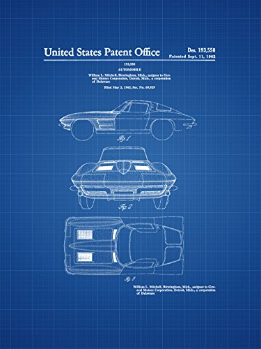 Framable Patent Art Original Classic Car Corvette Stingray 18in by 24in Patent Art Poster Print Blueprint PAPSP188B from Framable Patent Art