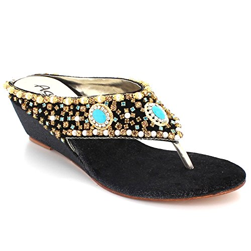 Diamante Noir Bas De Toe Cristal Dames compensé Taille Fête Mariage Femmes des Sandales Confort Bal sur Post Soir de mariée Glisser Chaussures Talon AEBqZyxw