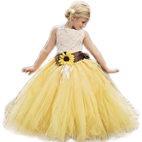 AnnaLin Yellow Tulle with Sunflower Belt Flower Girl Dress for Wedding Party First Communion Dress for Girls
