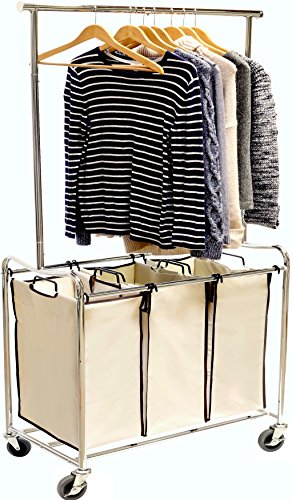Heavy-Duty 3 Bag Laundry Sorter Cart with Hanging Bar